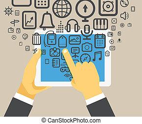tablet, moderne, vasthouden, digitaal apparaat, zakenman