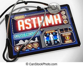 tablet., monde médical, asthme, exposer