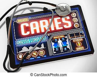 tablet., monde médical, carie, exposer