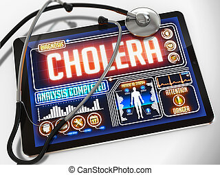 tablet., monde médical, exposer, cholera
