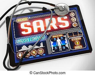 tablet., monde médical, exposer, diagnostic, sars