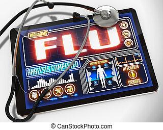 tablet., monde médical, grippe, exposer