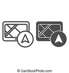 Tablet navigator line and glyph icon. Gps vector illustration isolated on white. Tablet with navigation outline style design, designed for web and app. Eps 10.