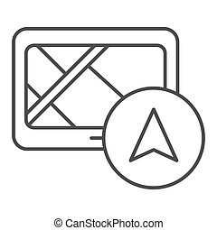 Tablet navigator thin line icon. Gps vector illustration isolated on white. Tablet with navigation outline style design, designed for web and app. Eps 10.