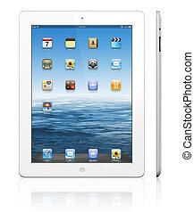 tablet, nieuw, pc, witte