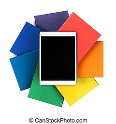 tablet on a stack of books in the form of flower isolated on white background