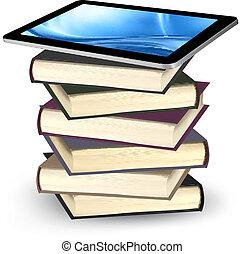 Tablet on a stock of books. E-book capacity concept. Vector.