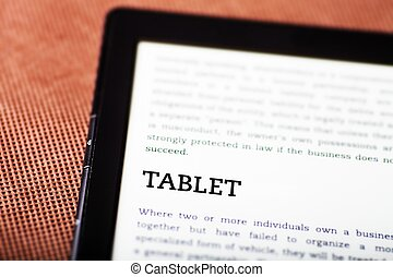 Tablet on ebook, tablet-pc concept