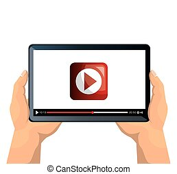 tablet on hands with online video
