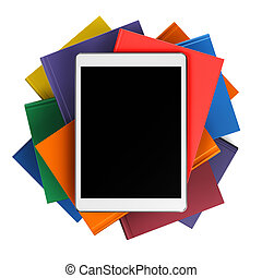 Tablet on pile of books, isolated on white background