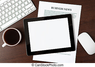 tablet on the table of a businessman