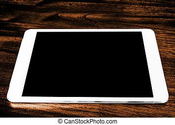 tablet, op, hout, tafel