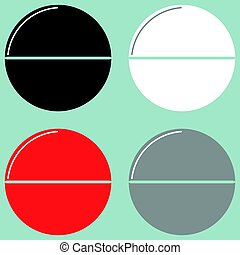 Tablet or pill black white red grey icon.