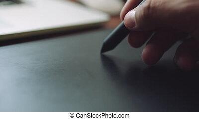 tablet., ordinateur portable, concepteur, fonctionnement, graphiques
