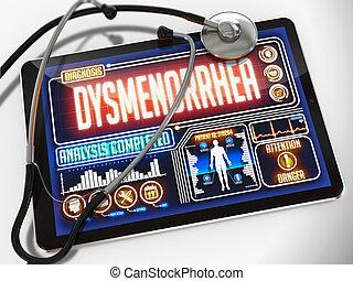 tablet., orvosi, bemutatás, diagnózis, dysmenorrhea