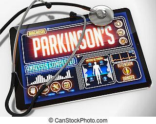 tablet., orvosi, diagnózis, parkinson's, bemutatás