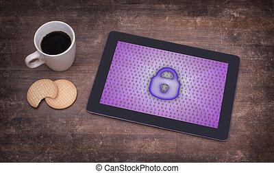 tablet, på, en, skrivebord, begreb, i, beskyttelse data