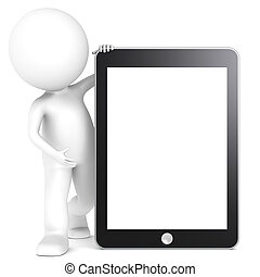 Tablet Pad. - 3D little human character with a Tablet Pad....