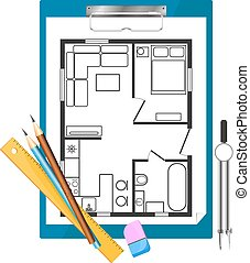 Tablet paper and drawing apartment plan - Tablet paper with...