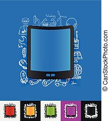 tablet paper sticker with hand drawn elements