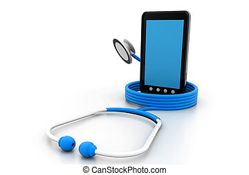 tablet pc and a stethoscope