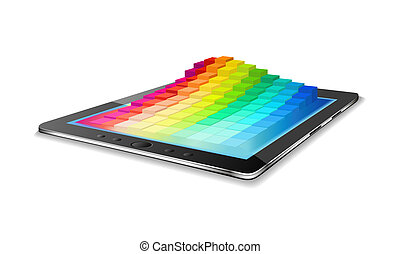 Tablet pc and diagram. - Tablet pc and chart are on the...