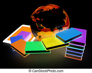 tablet pc and earth with colorful real books on black ...