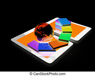 tablet pc and earth with colorful real books