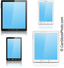 Tablet PC and Mobile Phone, vector eps10 illustration