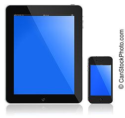 Tablet PC and modern phone. New Touchscreen phone and tablet