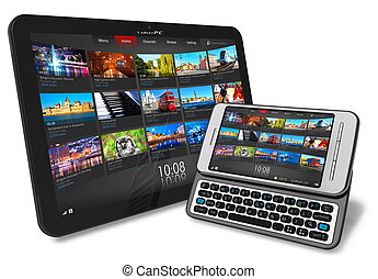 Tablet PC and smartphone - Tablet PC and side slider...