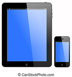 tablet pc and smartphone with blue screen, vector format