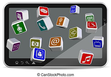 Tablet PC applications - A group of different application ...