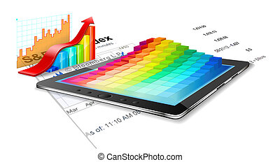 Tablet pc, business summary and charts.