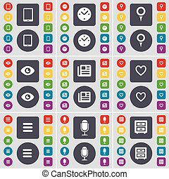 Tablet PC, Clock, Checkpoint, Vision, Newspaper, Heart, Apps, Microphone, Bed-table icon symbol. A large set of flat, colored buttons for your design. Vector