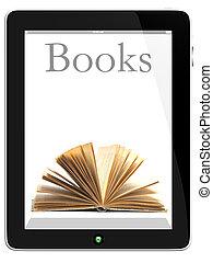 tablet pc, computer, en, boek