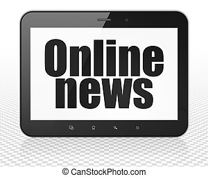 tablet pc, computer, online nieuws, display, concept: