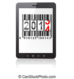 Tablet PC computer with 2014 New Year counter, barcode isolated on white background. Vector  illustration.