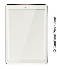 Tablet pc computer with blank screen isolated on white background.