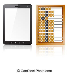 Tablet PC computer with blank screen with abacus