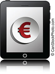 tablet pc computer with finance symbol icon on display. Vector EPS10