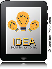 tablet pc computer with Light Bulb icon on display. Vector EPS10