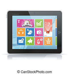 Tablet PC with modern icons on abstract background,...