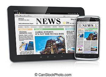 tablet pc, en, smartphone, met, zakennieuws