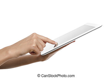 Tablet pc - Female teen hands holding generic tablet pc,...