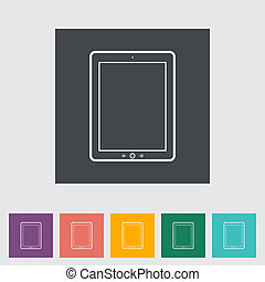 Tablet PC flat icon.