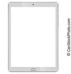 Tablet pc front view isolated on white background.