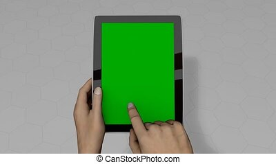 Tablet pc hand gestures, alpha matte, green screen included.