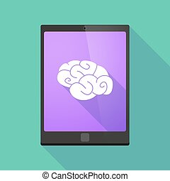 Tablet pc icon with a brain