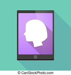 Tablet pc icon with a female head